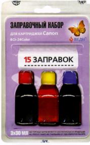 Заправочный набор для заправки картриджей струйных принтеров Canon BCI - 24Color. Арт. RK-C06