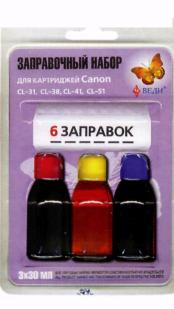 Заправочный набор для заправки картриджей струйных принтеров Canon CL-31, CL-38, CL-41, CL-51. Арт. RK-C08