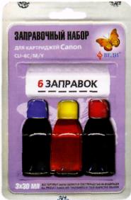 Заправочный набор для заправки картриджей струйных принтеров Canon CLI - 8C/M/Y. Арт. RK-C16