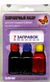 Заправочный набор для заправки картриджей струйных принтеров PGI – 521C/M/Y. Арт. RK-C19