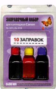 Заправочный набор для заправки картриджей струйных принтеров Canon CL-511, CL-513. Арт. RK-C21