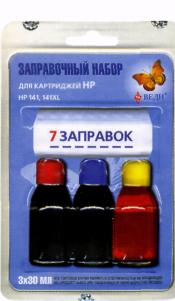 Заправочный набор для заправки картриджей струйных принтеров Hewlett-Packard 141, 141XL. Арт. RK-H15