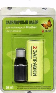 Заправочный набор для заправки картриджей струйных принтеров Brother LC41/LC900 BK Арт. RK-B01
