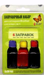 Заправочный набор для заправки картриджей струйных принтеров Brother LC41/LC900 C/M/Y Арт. RK-B02